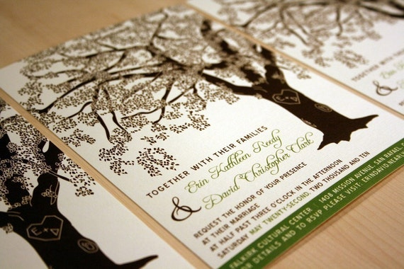 Reserved for courtneydenton, 100 Grandfather Oak Tree Wedding Invitations and RSVP Cards, Customized, Printed