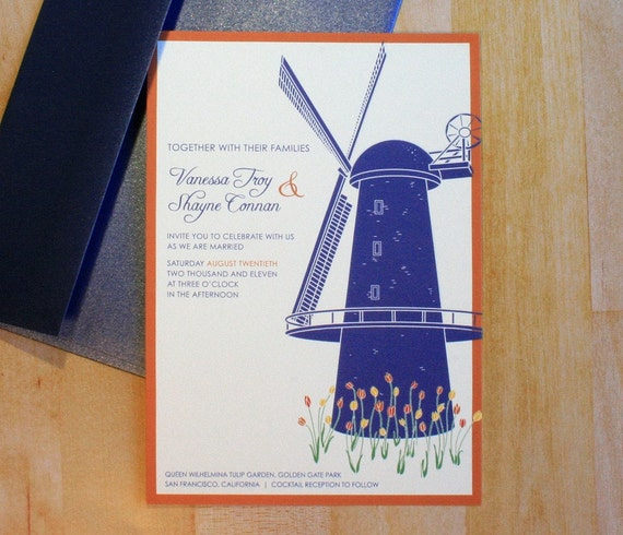 Sample: Windmill in the Tulips Wedding Invitation