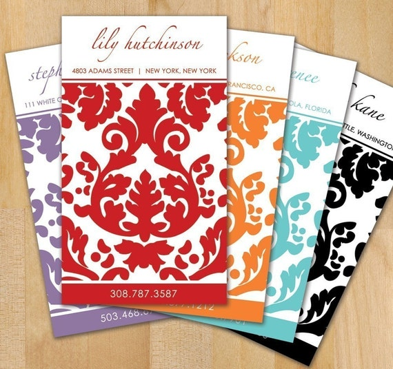 100 Damask Calling Cards, Pick Your Color