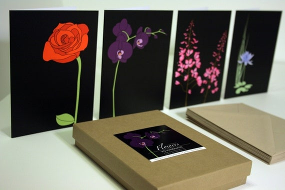 Recycled Greeting Card Set of 12, Flowers on Black