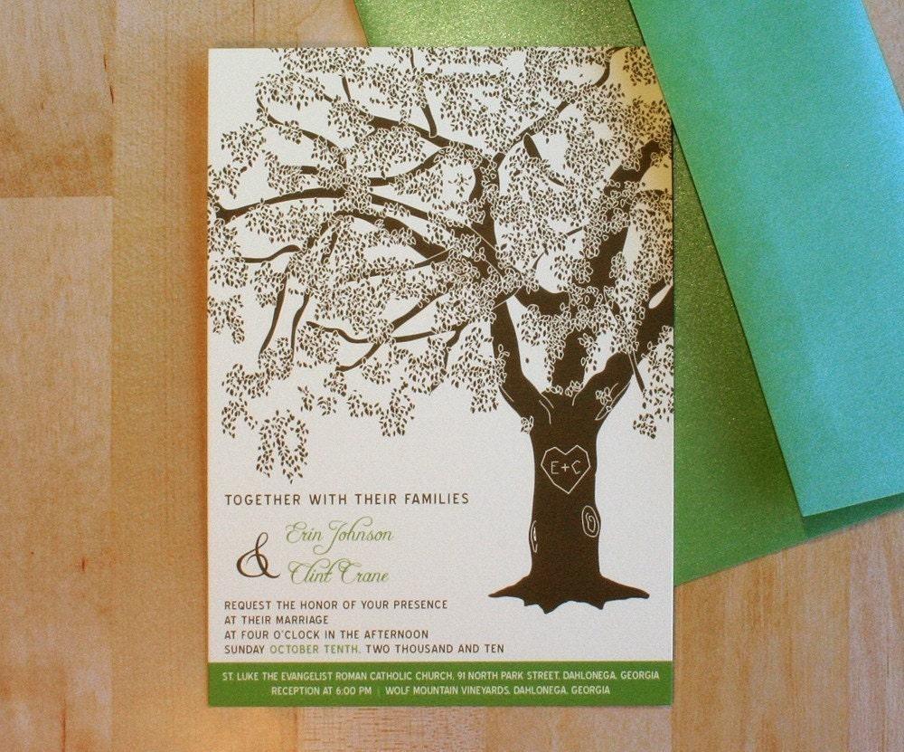wedding invitations with oak trees - 28 images - vintage oak tree ...