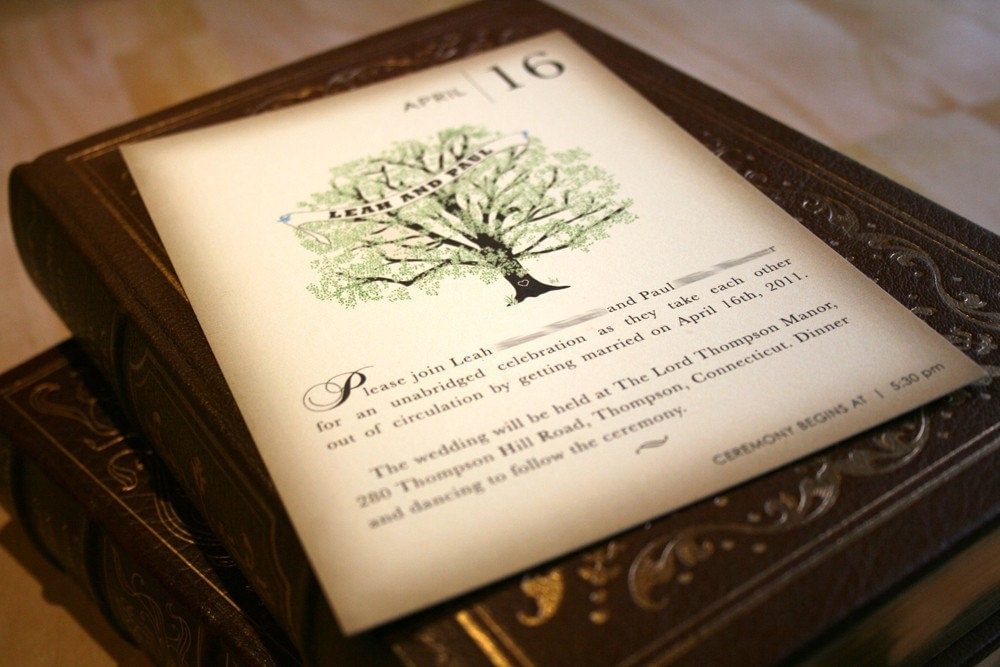Vintage Book Cover Invitations ~ Sample vintage book wedding invitation rustic tree