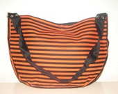 FREE SHIPPING Black and Orange Striped Purse