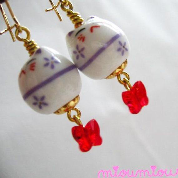 "Japanese Maneki Neko Earrings ""Butterfly Kisses"""