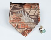 Pagoda Tie - Vintage Earth Tones - Men's Asian Accessory