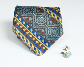 Bold Necktie - Vintage Blue Brown Gold Tie