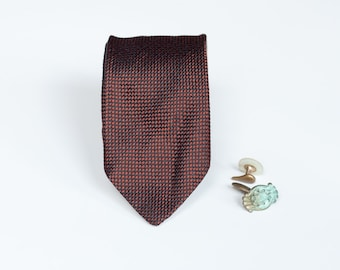 Vintage Skinny Tie - Black and Brown Checks