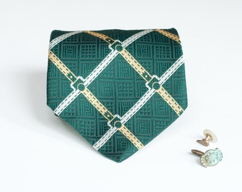 Fat Tie - Vintage Green Buckles Pattern