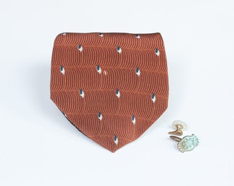 Brown Silky Tie - Feather Pattern - Classic Necktie