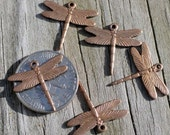 5 Tiny detailed oxidized brass dragonfly charms stampings