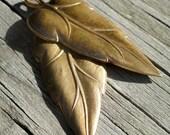 Oxidized Brass leaf Charm  2 count