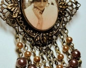Created With Your Photo-Romantic Victorian Edwardian Custom Designed nostalgic Brooch/Pendant with Antiqued Filigree and Pearls
