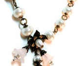 White and Black Pearl and Lucite Flower Necklace and Earring Set. Bridal Attendants, Wedding jewelry