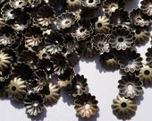 100 Small Brass Bead Caps, Antique Bronze Lead Free, Fluted Flower Bead Caps