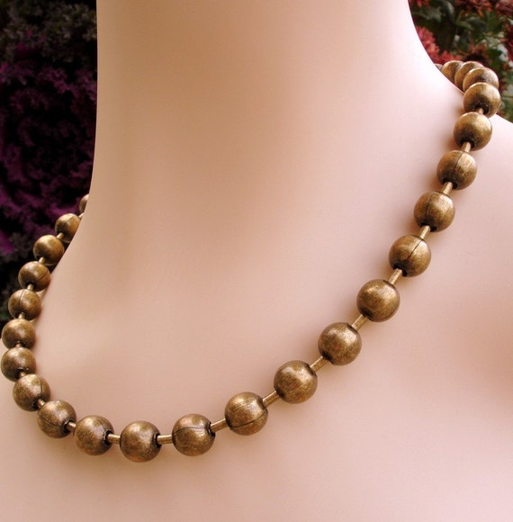 Medieval Brass Ball Chain necklace- 18 inches