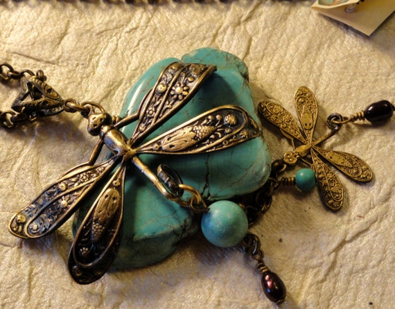 Turquoise Magnesite and Dragonfly Pendant Necklace- Just Resting Here