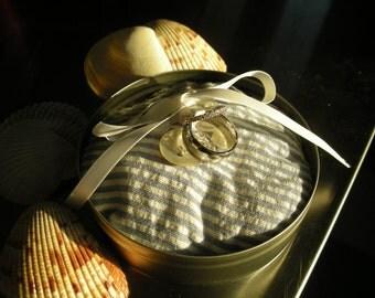 I do: Charming Nautical Ring Pillow in Tin Box  (Customizeable)