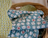 Spindrift Quilt - ORGANIC Heirloom Crafted - Citrus Blues - Hand Drawn Curvy Edge