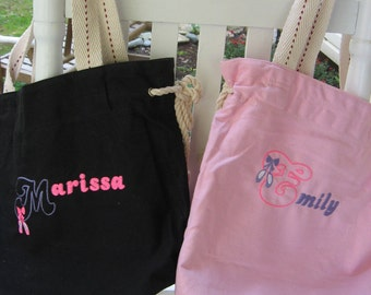 Kids Personalized Dance Ballet tote bags - choice of embroidery colors