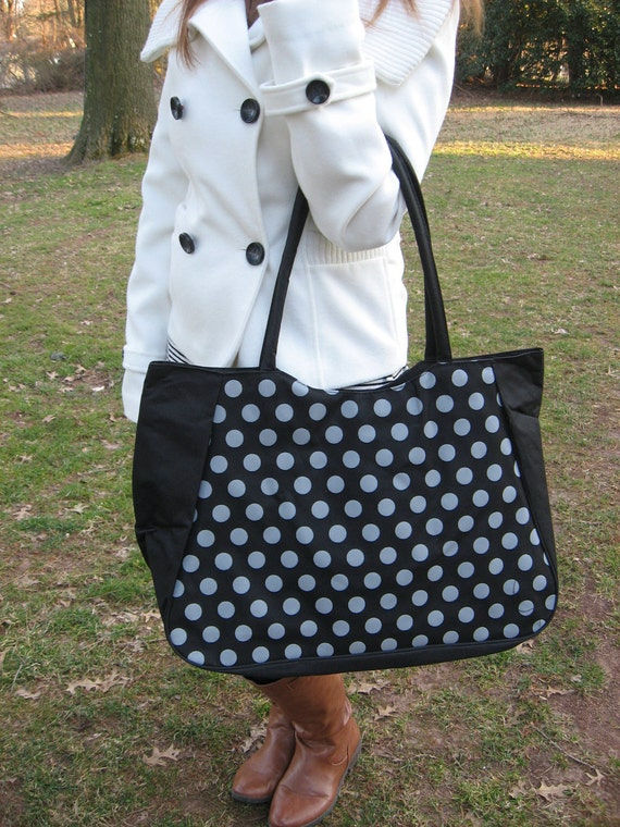 CLEARANCE - Personalize this roomy, oversized black and silver zippered Tote Bag