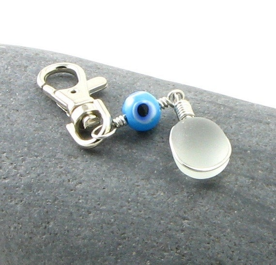 White English Sea Glass Purse Charm - Zipper Pull - Key Chain with Lobster Claw Clip - Free Shipping for the USA and Canada