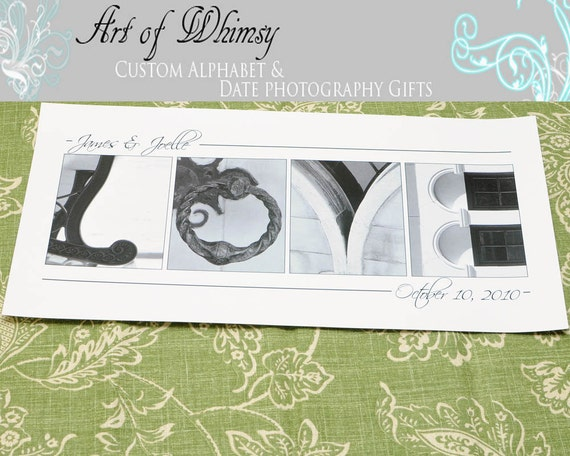 Wedding Gift Alphabet Art : ... Gift , Name Photography Art , Wedding Gift , 10x20 UNFRAMED- Alphabet