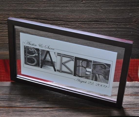 Custom Personalized Alphabet Name Frame Print Wedding Gift- Floating Frame- DARK WALNUT or BLACK Frame