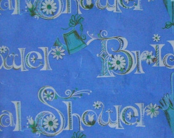 Vintage Gift Wrap 1960s Bridal Shower Hallmark Wrapping Paper-Bridal Blue & Turquoise too--2 Sheets NIP