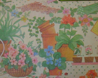 Vintage Gift Wrap 1970s Shower Wrapping Paper--Garden Pots & Gloves