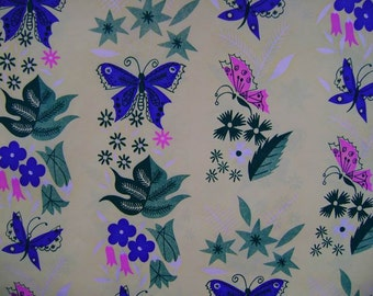 Vintage Gift Wrap 1960s All Occasion Wrapping Paper---Mod Blue Butterflies
