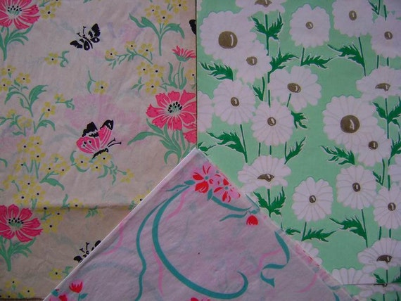 Vintage Gift Wrap 1940s Floral Print Wrapping Paper--3 Prints All Occasion-- Butterflys and Seafoam Green