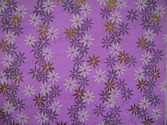 Vintage Gift Wrap 1960s All Occasion Wrapping Paper-2 Sheets-- Pretty Purple Print