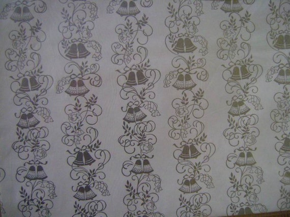 Vintage Wedding Gift Wrap--1960s Ambassador Wrapping Paper--2 Sheets NIP--Silver Bells and Roses