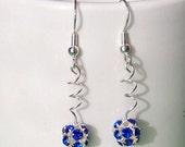 Blue Rhinestone Bead Twirl Earrings