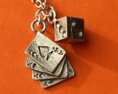 Feeling Lucky Gamble Charm Necklace- with miniature dice tiny playing cards and silver chain