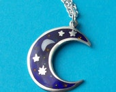 Cellestial Blue Moon and Stars Charm Necklace - with silver chain