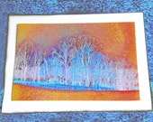 Photo Note Card 5x7 Winter Trees in Orange