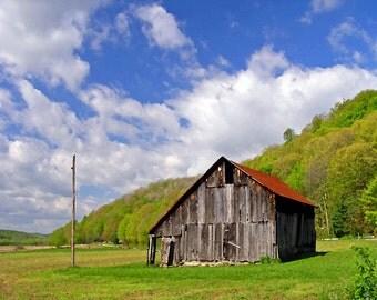Landscape Photography 8x10 Classic Hillside Barn Scene Rustic Home Decor