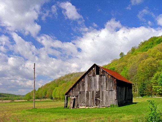 Landscape Photography 8x10 Classic Hillside Barn Scene Rustic