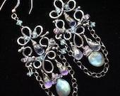 Labradorite Chandelier Earrings Silver Wire Wrapped Mystic Topaz Gemstone Handmade - Nina