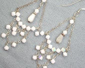 White Earrings White Swarovski Crystal Chandelier Earrings Handmade Wire Wrapped Sterling Silver Chandelier Earrings