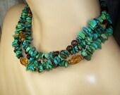 Turquoise Statement Necklace Multi Strand Necklace Choker Collar Triple Strand Bold Chunky Luxury Fall Fashion