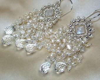 Wedding Earrings Handmade Bridal Chandelier Wire Wrap Moonstone Pearl Cluster Statement Bridal Jewelry Handmade