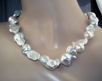 Nucleated Baroque Pearl Necklace Freshwater Huge Dazzling Luxury Fashion Birthday Gift