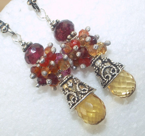 Citrine Cluster Earrings Red Orange Yellow Wire Wrapped Sterling Silver Multicolor Gemstone  November Birthstone - Zelda