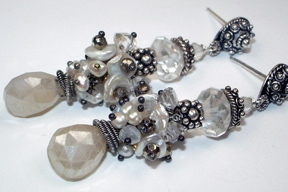 SALE - Wire Wrapped Earrings Pearl Chalcedony Post