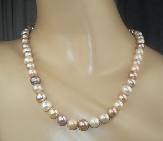 RESERVED for F - Pearl Necklace Pink Peach Lilac Ivory 9mm Freshwater Pearls Spring Fashion