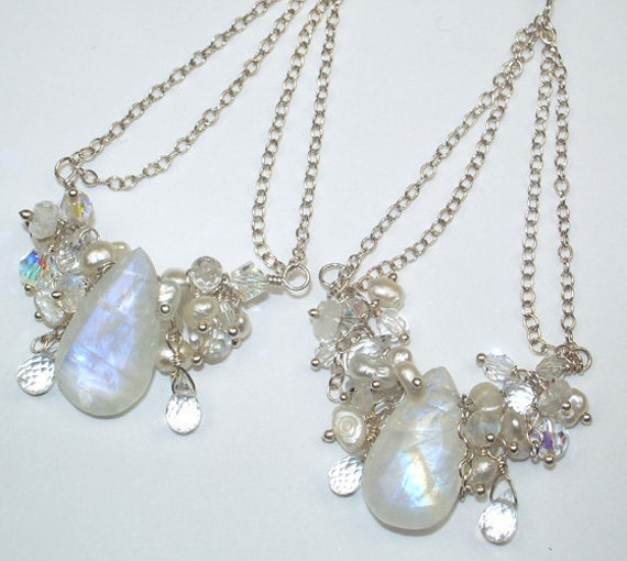 Moonstone Silver Chandelier Earrings Wire Wrapped Pearl Handcrafted