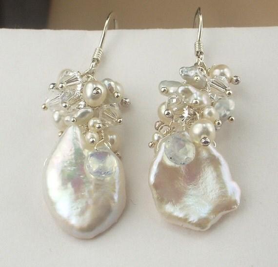 Keishi Pearl Wedding Earrings Opal Crystal Cluster Wire Wrapped Sterling Silver Bridal Earrings