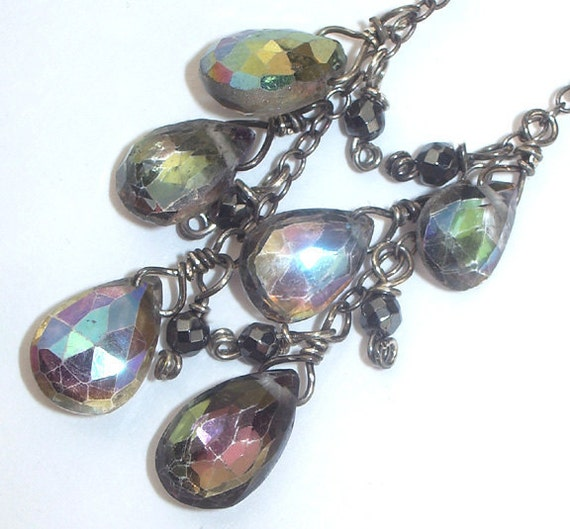 Rainbow Mystic Quartz Dangle Earrings Hematite Wire Wrapped Oxidized Silver
